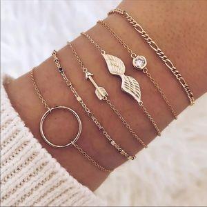 Dainty Gold Arrow & Angel Wing Charm Bracelet Set
